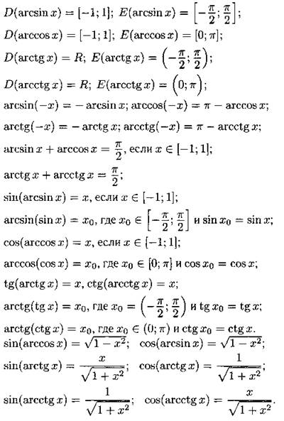Арксинус, арккосинус - свойства, графики, формулы