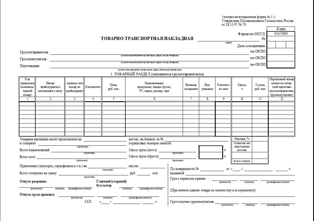 Товарно-транспортная накладная-2019-2020: скачать новые бланки и образцы заполнения ттн по форме № 1-т в excel, word, pdf    куб