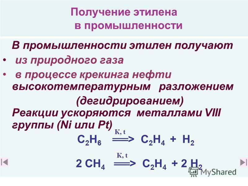 Применение этилена. свойства этилена