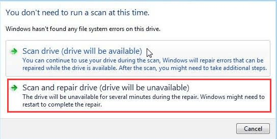 """Fix stuck """"scanning and repairing drive"""" in windows 10"""