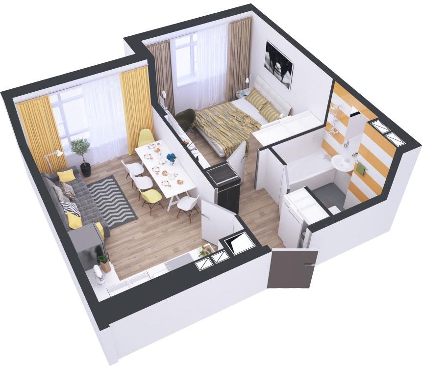 Планировки евродвушек. дизайн интерьера квартиры-евродвушки (фото). еврооднушка что это такое