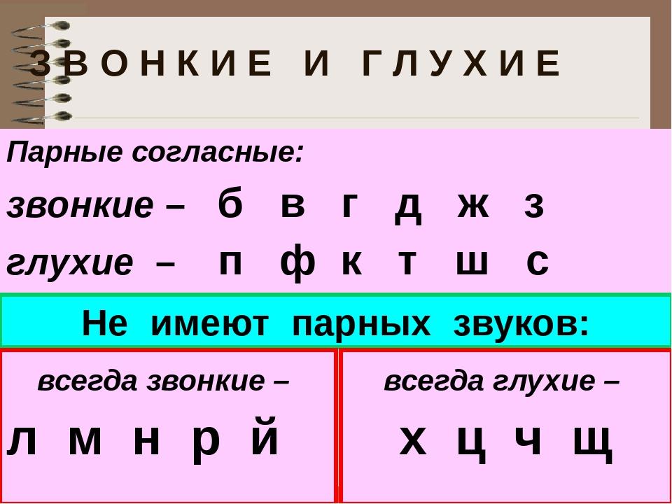 Парные согласные в русском языке: примеры, таблица. правописание парных согласных. что это - парная согласная?