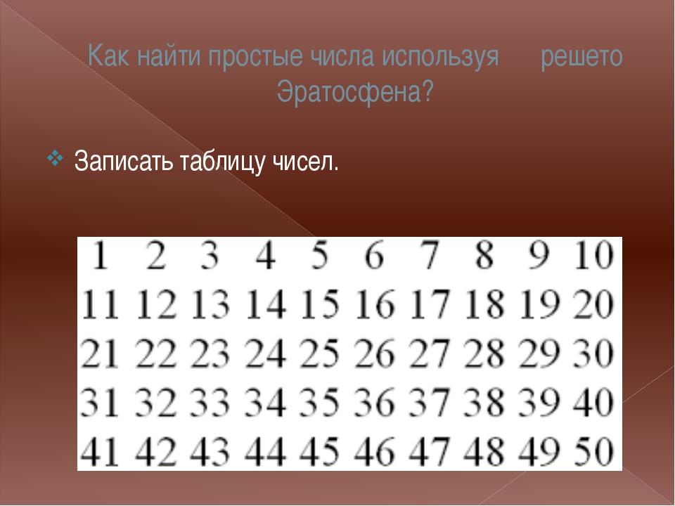 Как найти простые числа?