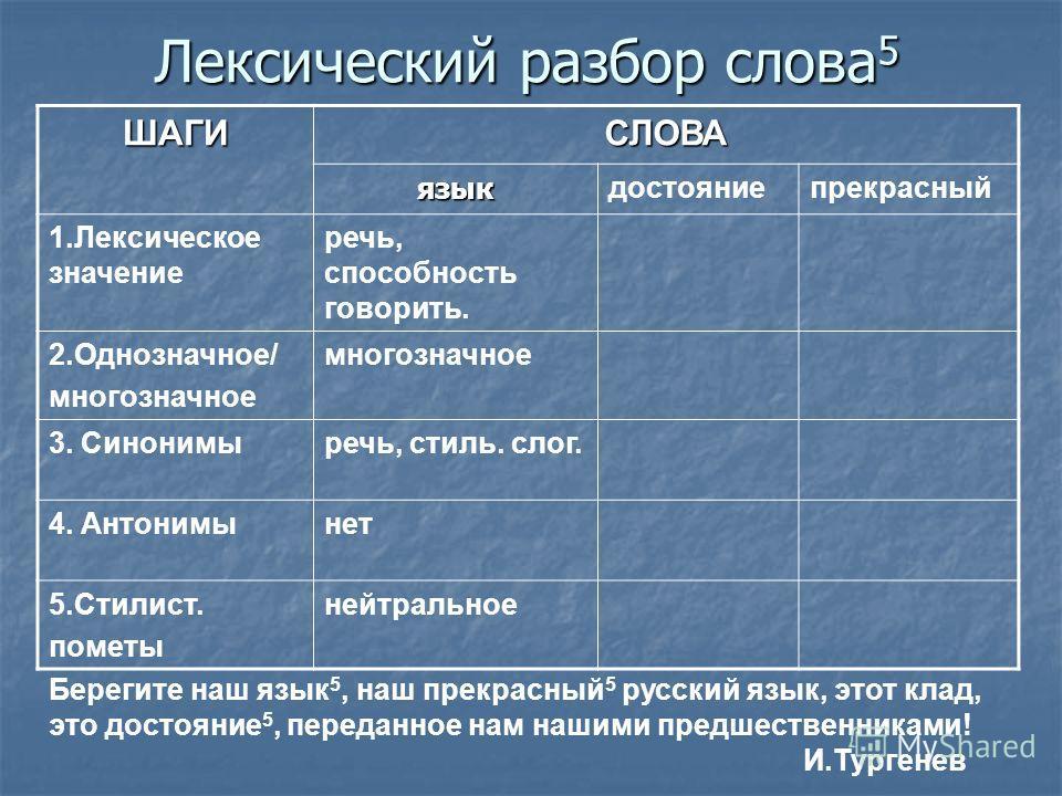 Лексический разбор слова: примеры