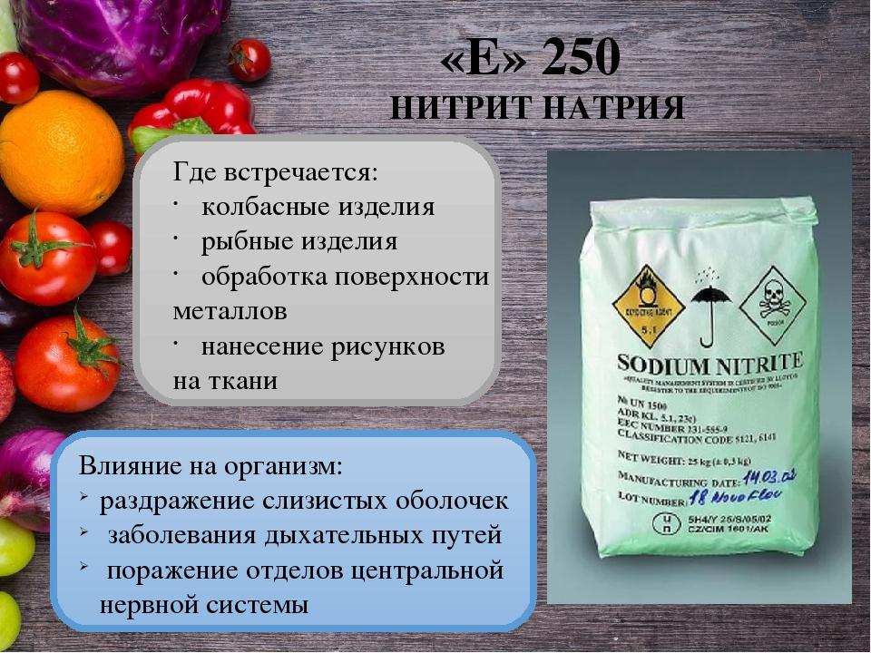 Нитрит натрия (е250): полезные свойства и вред | food and health