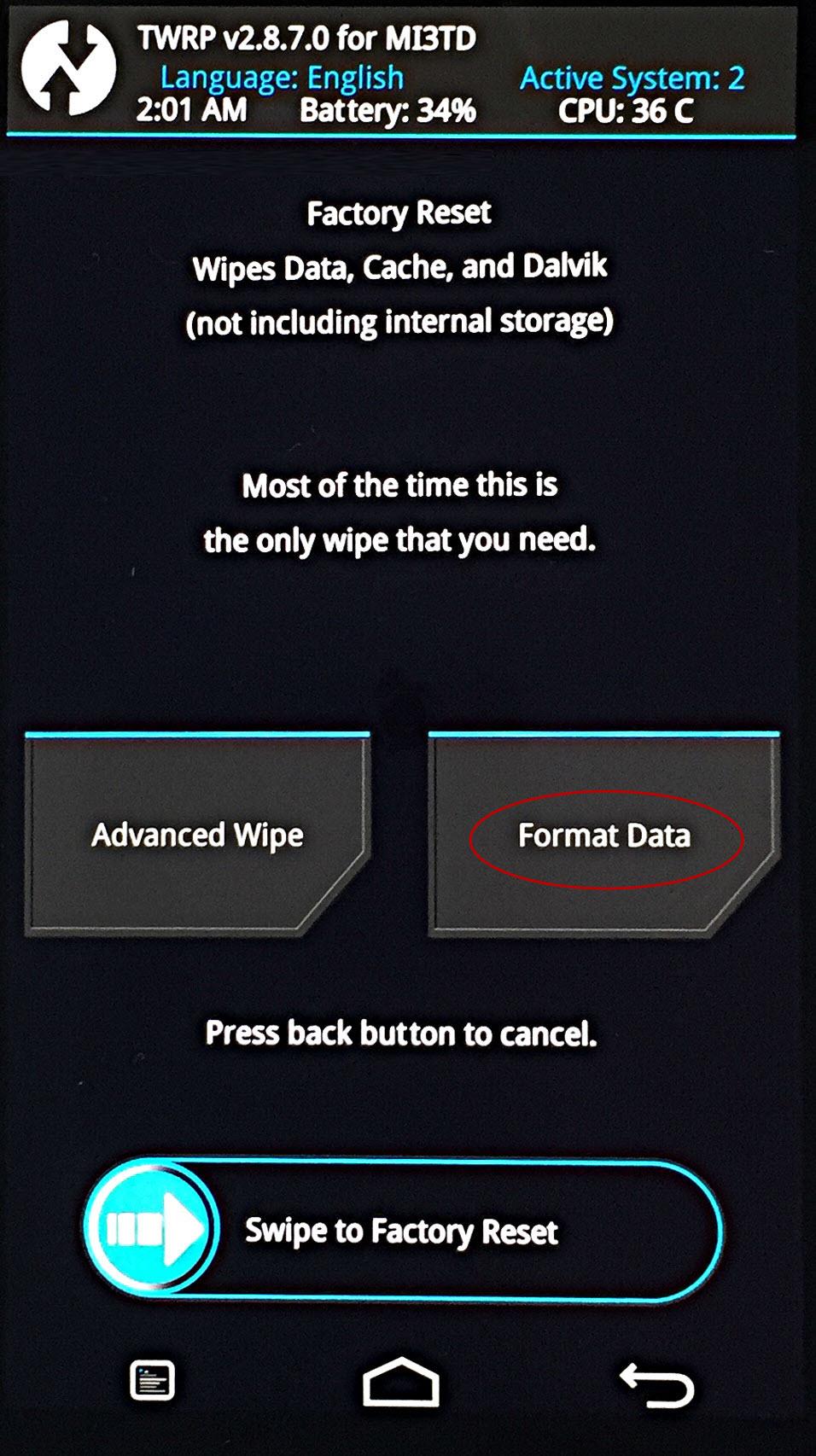 Как сделать полный вайп через рекавери. full wipe - подробное описание процесса