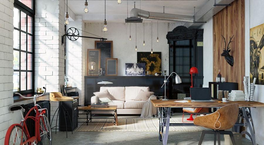 Стиль лофт в интерьере: гостиная, кухня, спальня, ванная