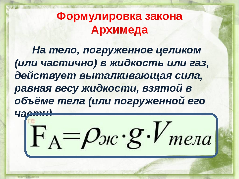 Урок 10: архимедова сила - 100urokov.ru