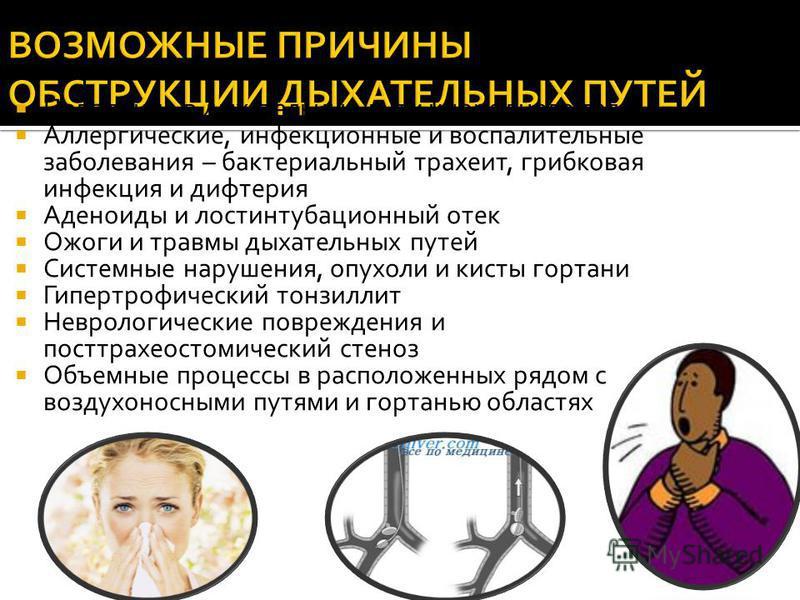 Обструкция дыхательных путей: причины, симптомы, лечение