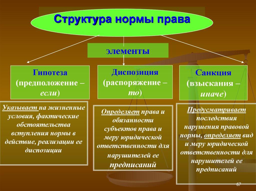 Правовые нормы: понятие, виды, признаки, структура