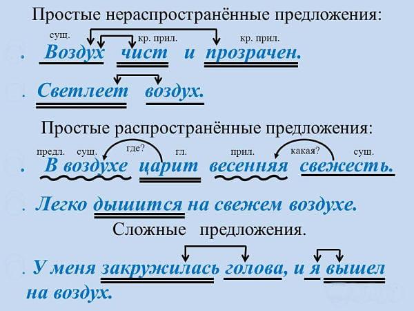 Распространенные и нераспространенные предложения – примеры (3 класс, русский язык)