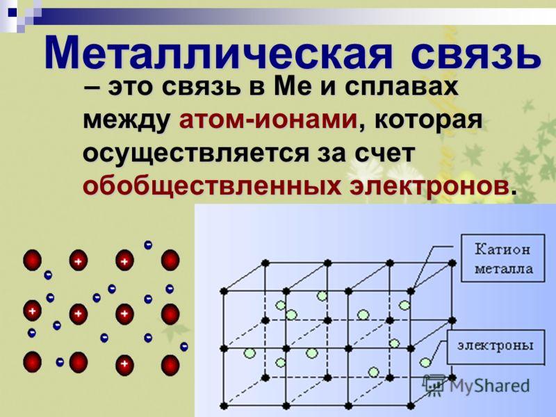 Металлическая химическая связь – примеры (химия, 11 класс)