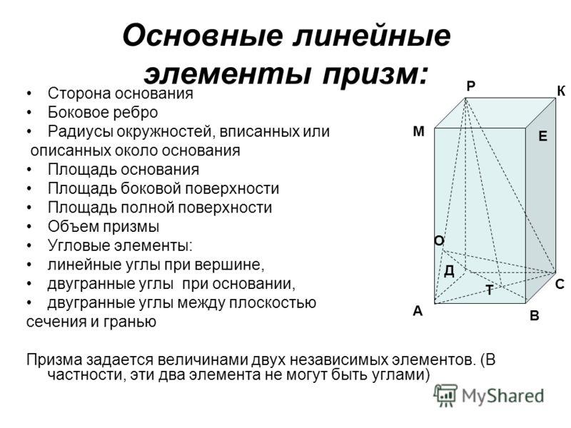 Четырехугольная призма: высота, диагональ, площадь
