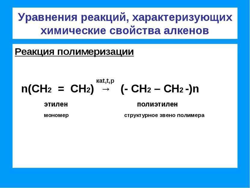 Реакции полимеризации