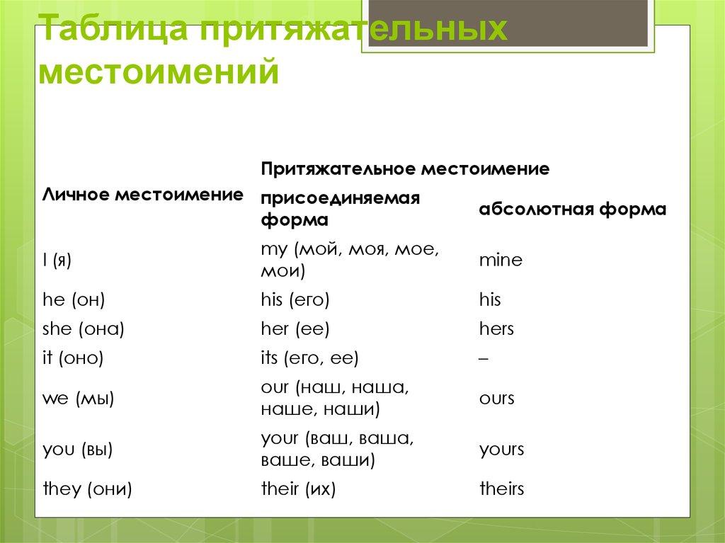Притяжательные местоимения в английском языке ⬅️