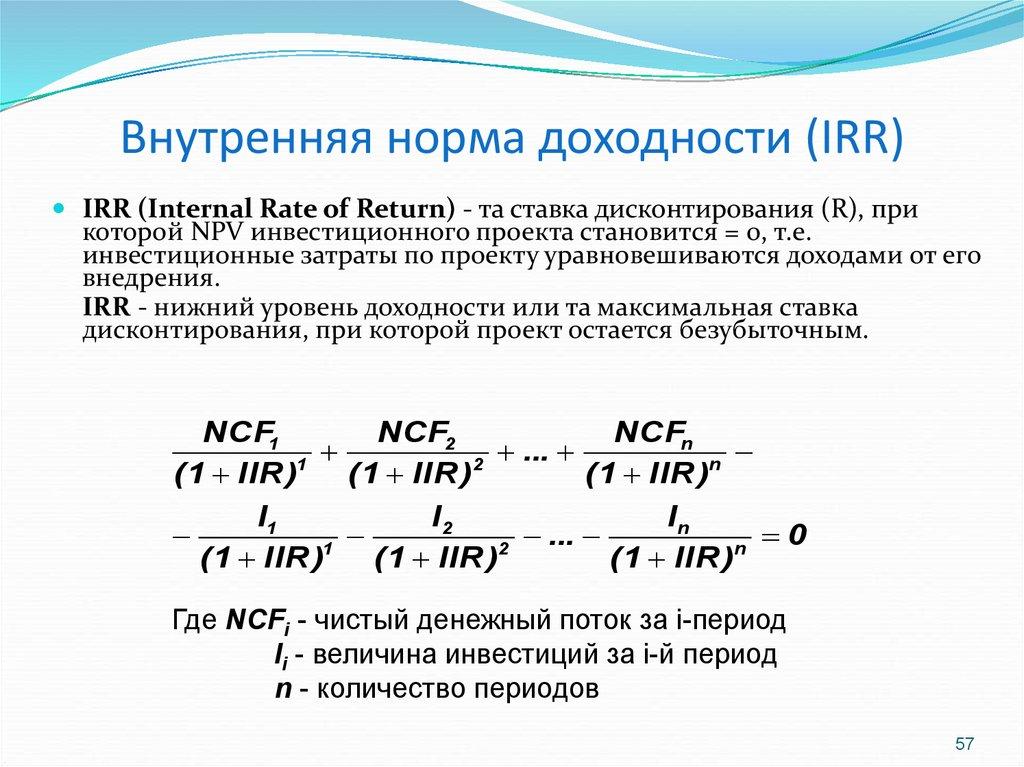 Внутренняя норма доходности (irr, internal rate of return). формула и пример расчета в excel