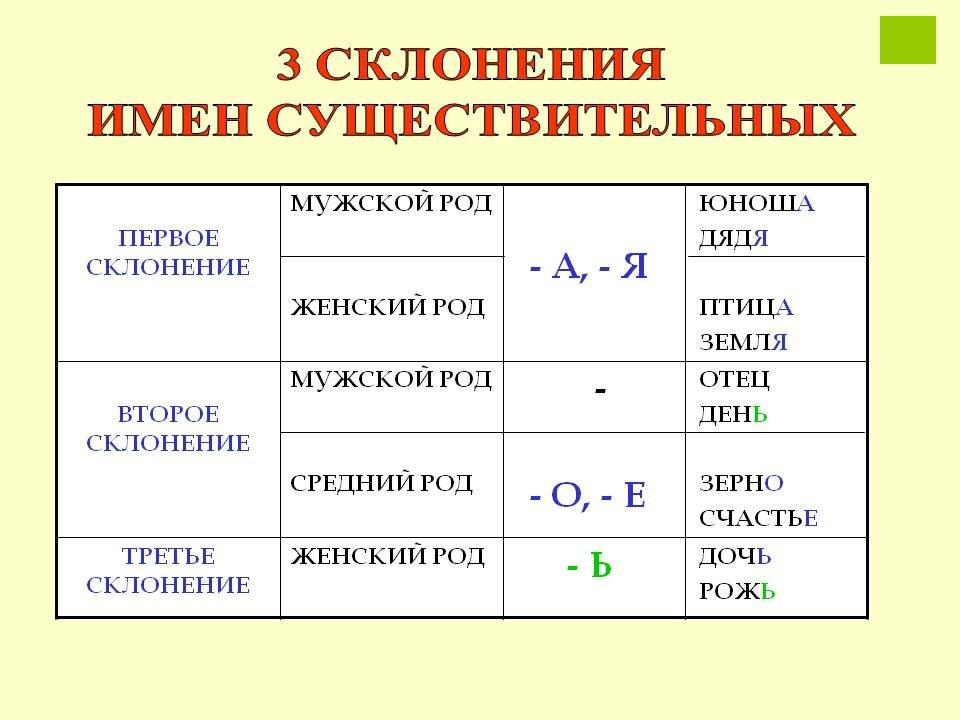 Род, число, падеж и склонение имён существительных. образцы склонения существительных