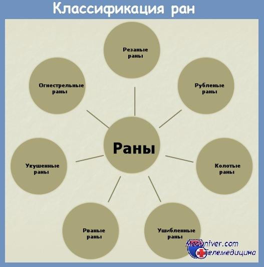 Классификация ран и их характеристика видов