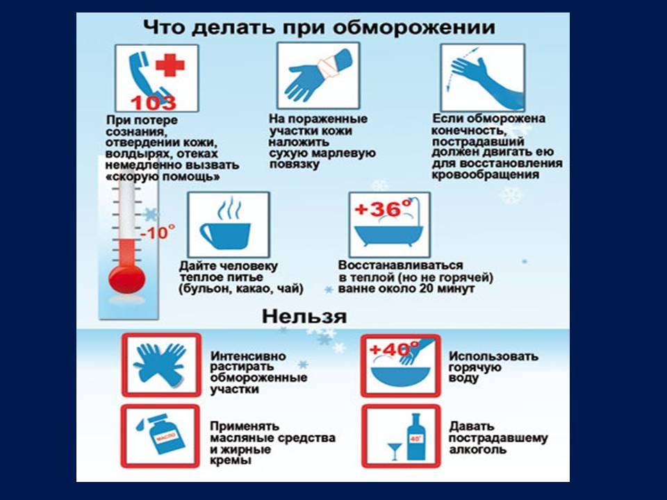 Обморожение - признаки и первая помощь