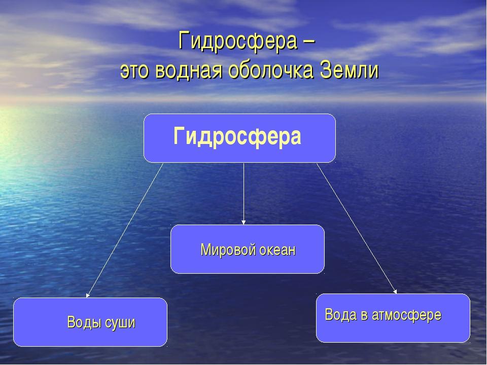 Что входит в состав гидросферы, какой объем составляют части