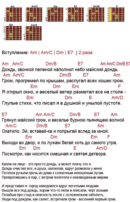 Ддт - что такое осень. текст песни и аккорды в ля миноре (am) для гитары и укулеле
