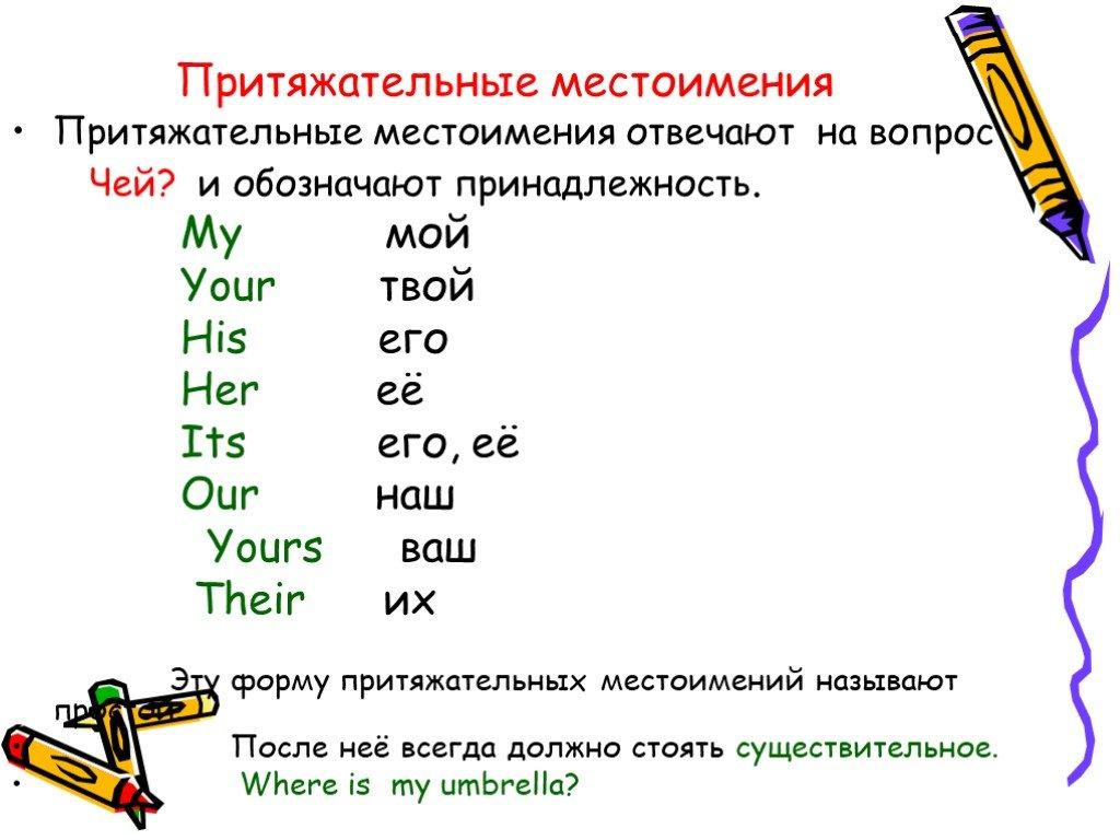 Притяжательные местоимения в английском языке, правила и примеры