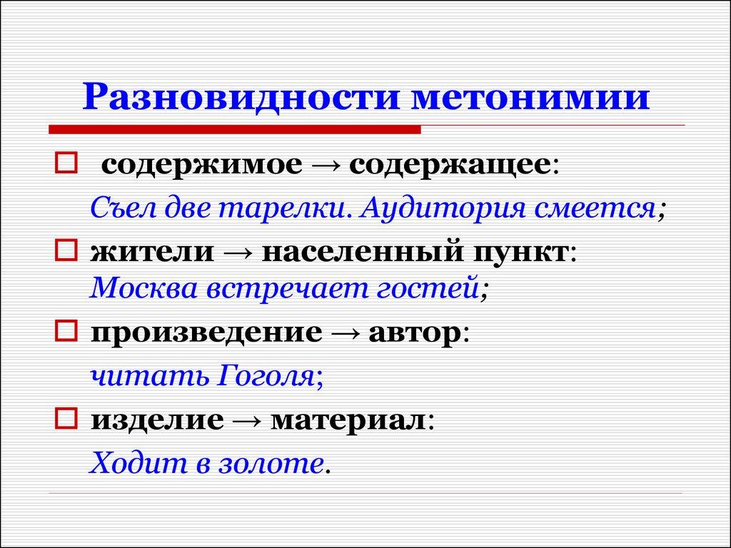 Что такое метонимия? примеры