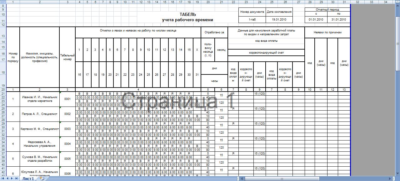 Обозначения и коды в табеле учета рабочего времени