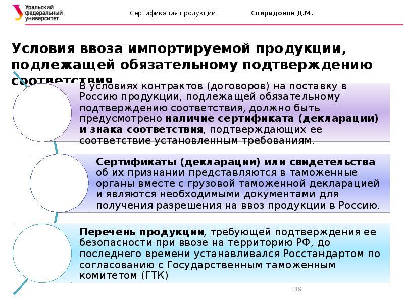Россия. понятия при сертификации и декларировании соответствия продукции