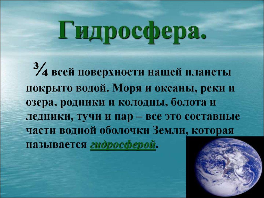 Гидросфера: состав, свойства, круговорот воды, загрязнение.