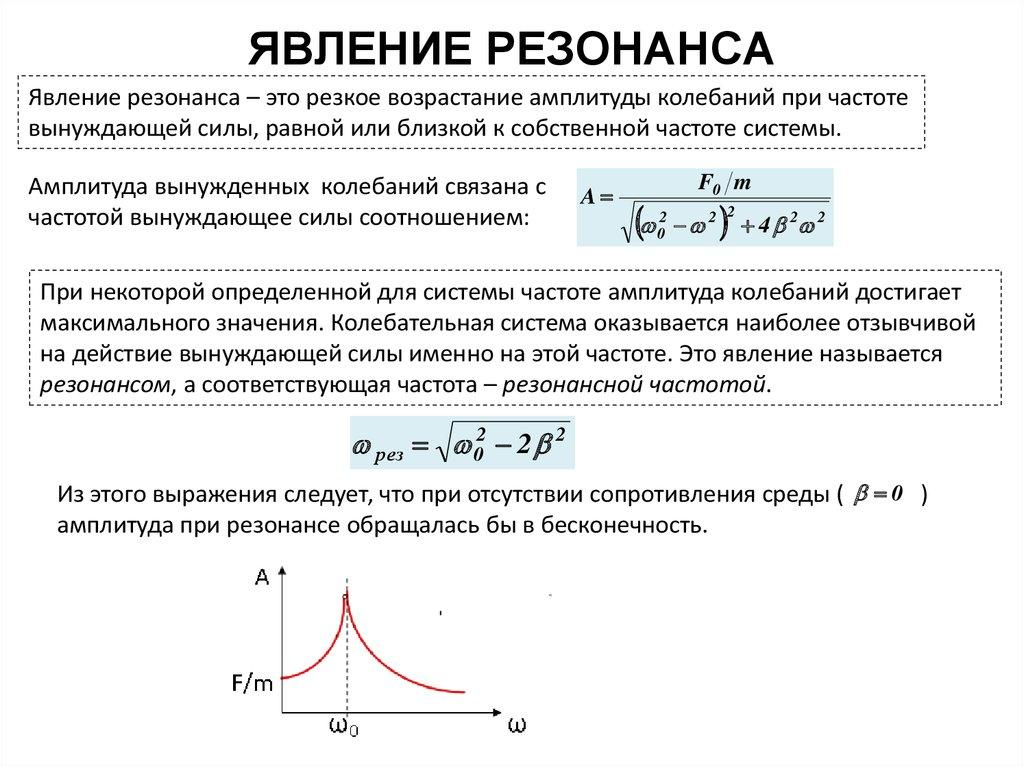 Всрезонанс в ? физике, формула. что такое ? резонанс и в чем состоит его явление?