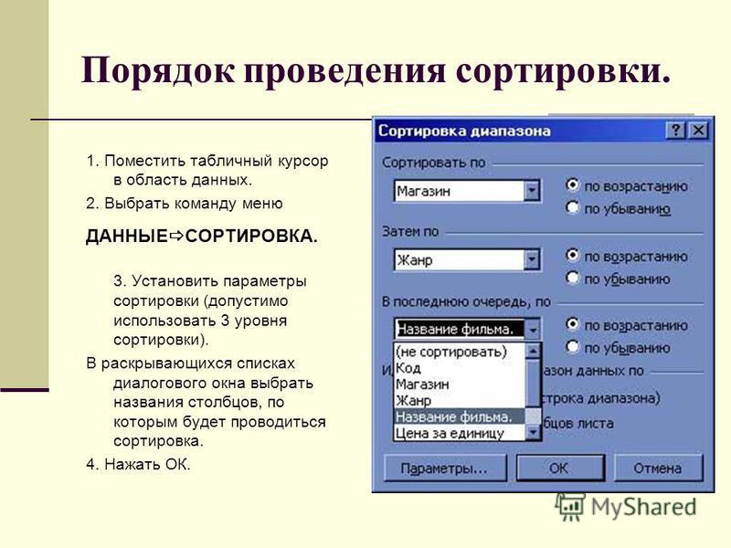 Лекция № 2.5 сортировка и фильтрация данных. сортировка списка | авторская платформа pandia.ru