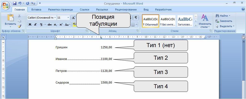 Как использовать табуляцию в microsoft word