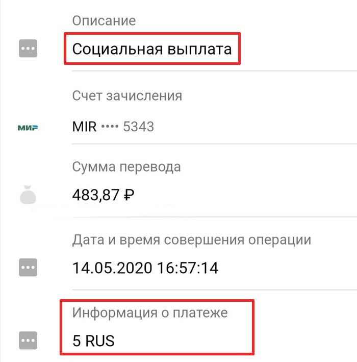 Социальная выплата 5 rus в сбербанк что это такое