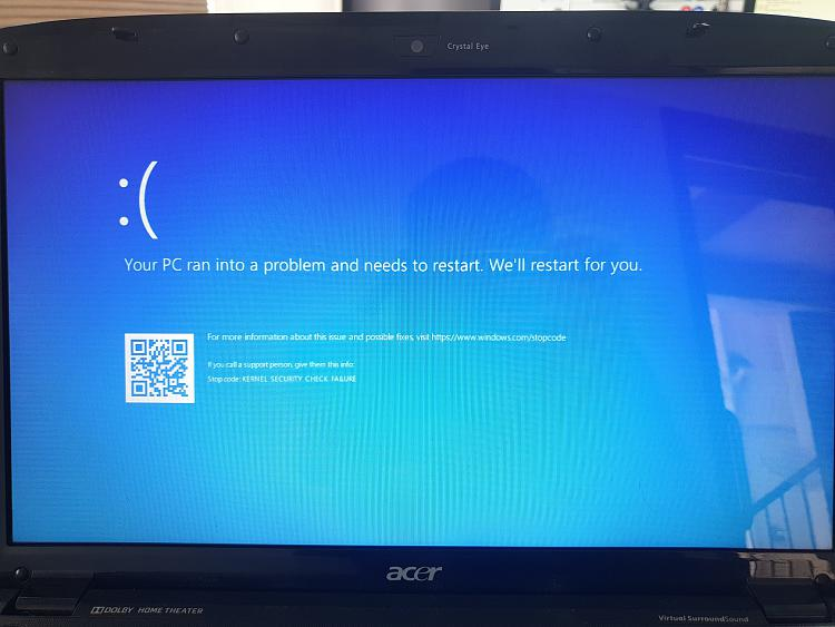 Ошибка kernel security check failure windows 8 и 10