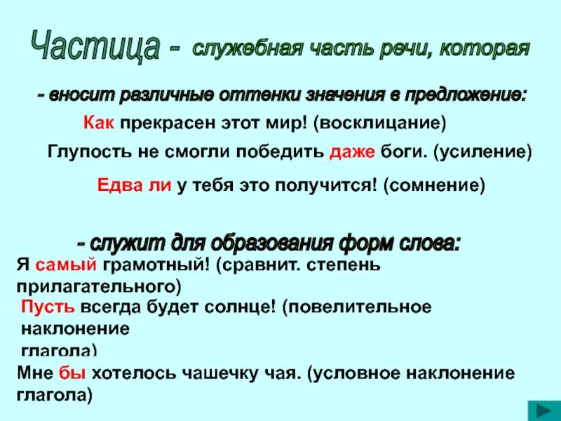 Частицы в русском языке: классификация и правописание